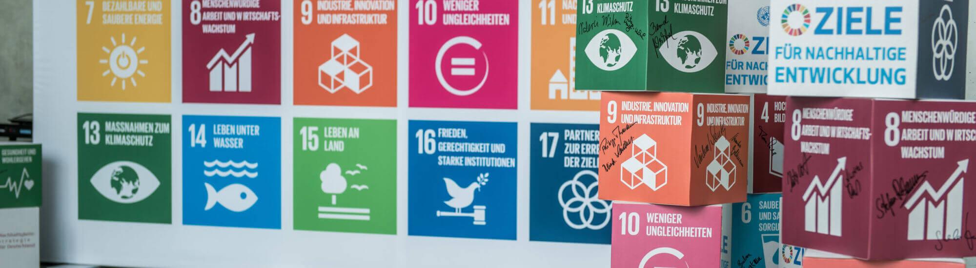 Globale Nachhaltigkeitsziele bei einer Aktion des RNE im Deutschen Bundestag. Foto: Ralf Rühmeier / RNE
