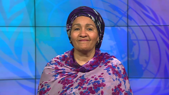 Amina J. Mohammed, Deputy Secretary General der Vereinten Nationen, wandte sich in ihrer Videobotschaft an die Teilnehmenden der 18. RNE-Jahreskonferenz. © UN (United Nations)