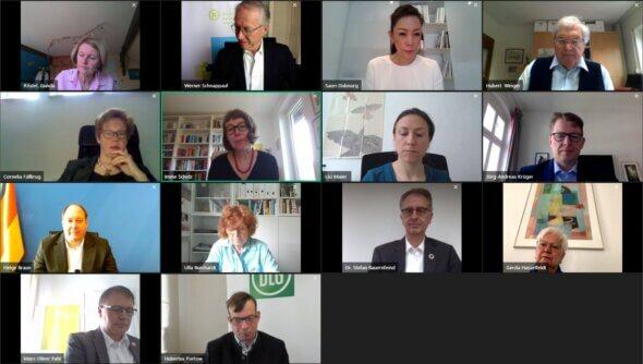 Screenshot der virtuellen 100. Ratssitzung am 25. März 2021 mit Kanzleramtsminister Helge Braun