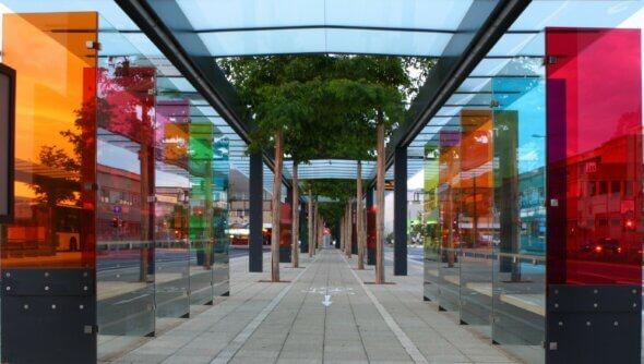 Böblingen Busbahnhof - nachhaltige Mobilität ist ein wichtiges Thema auf kommunaler Ebene. Foto: Bildarchiv Stadt Böblingen/Foto Stoehr