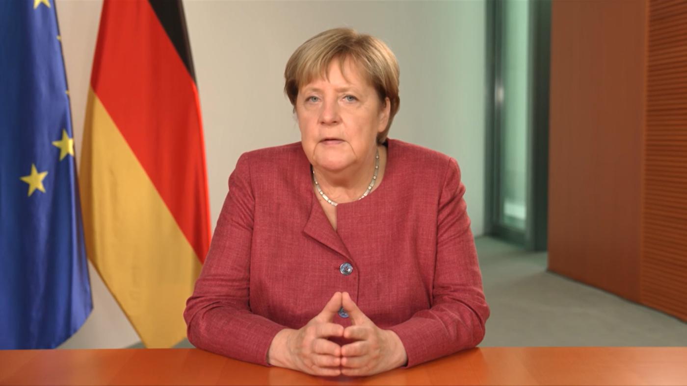 Angela Merkel in ihrer Videobotschaft beim SDG-Moment der 76. UN-Generalversammlung. Foto: Screenshot der Videobotschaft © Bundesregierung